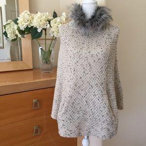 Aqua Faux Fur Collar Sweater Poncho NWOT